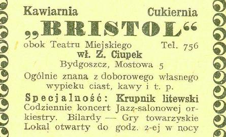 """Reklama kawiarni w """"Księdze adresowej Bydgoszczy"""" z 1929 roku. Zygmunt Ciupek mieszkał w tym samym domu."""