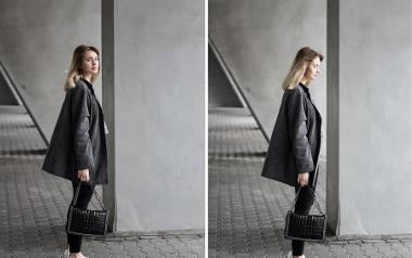 Na blogu Mixfashionworld urzekła nas stylizacja z szarym płaszczem i czarnymi spodniami. Naszą uwagę przykuły dodatki, szczególnie buty z obcasem, najmodniejsze