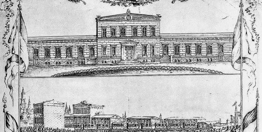 Grafika z lat 1842-1843 ,pokazująca zabudowania pierwszego Dworca Kolei Górnośląskiej