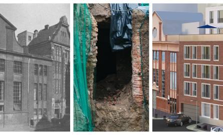 Zdjęcie po lewej: przed wojną - obok trafostacji dom towarowy; środkowe - podziemia; po prawej wizualizacja budynku River House