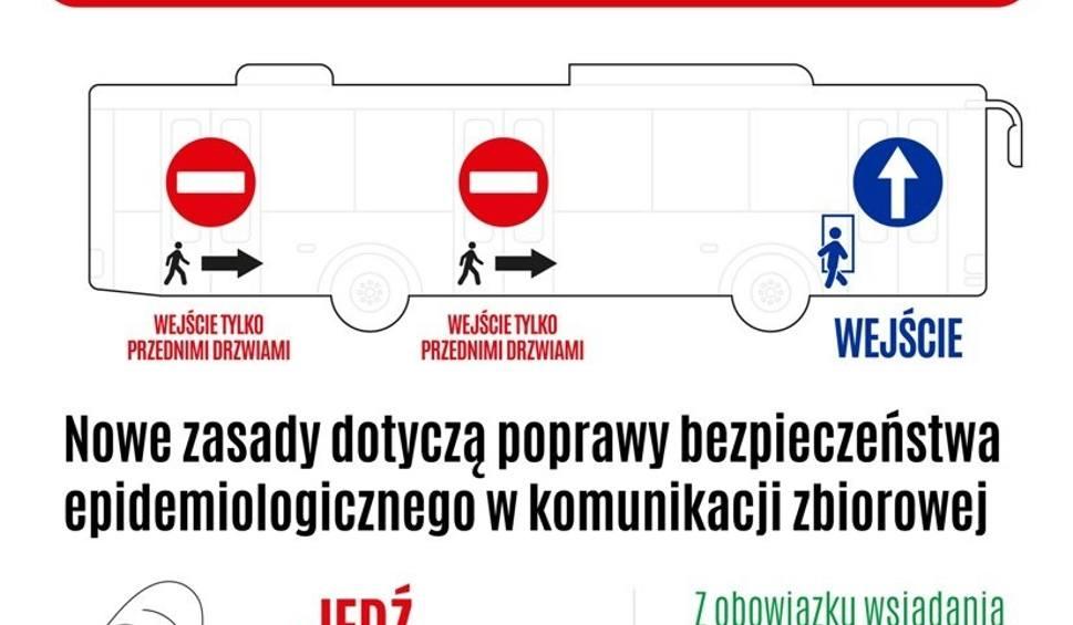 Film do artykułu: Do autobusu MZK wejdziesz tylko przednimi drzwiami. Kierowcy skontrolują, czy pasażerowie przestrzegają obostrzeń