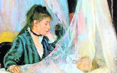 """Berthe Morisot """"Kołyska"""". Obraz przedstawia siostrę artystki Edmę Pontillon pochyloną nad córeczką Blanche"""