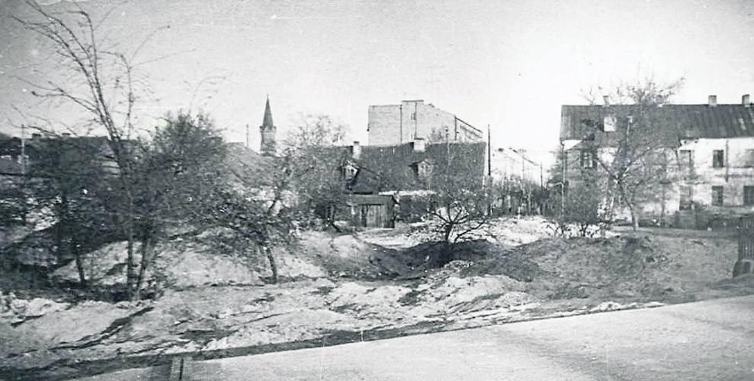 Prace budowlane przy obecnym rondzie prezydenta A. Lussy. Ze zbiorów Muzeum Podlaskiego.