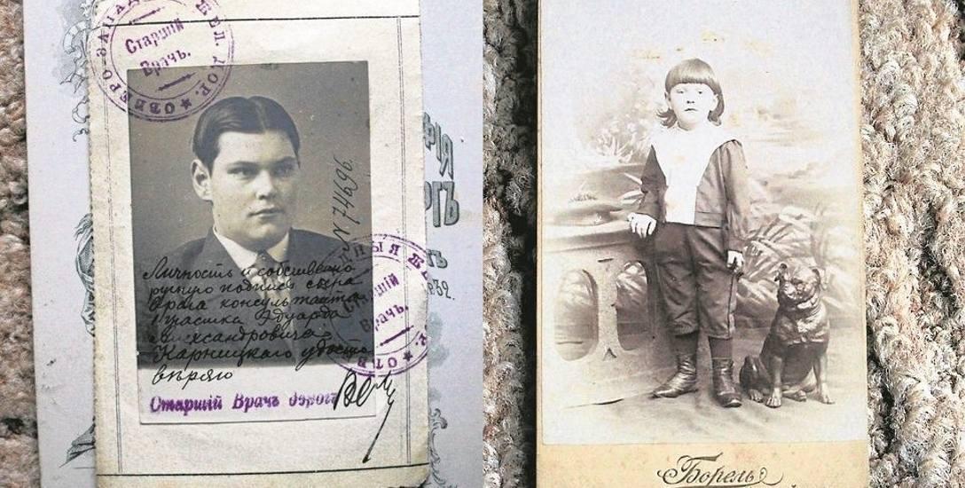 Z lewej: Lekarz Edward Aleksandrowicz Karnicki. Zdjęcie z podpisami i stemplami zastępowało legitymację służbową.Z prawej: Jeden z młodego narybku Karnickich.