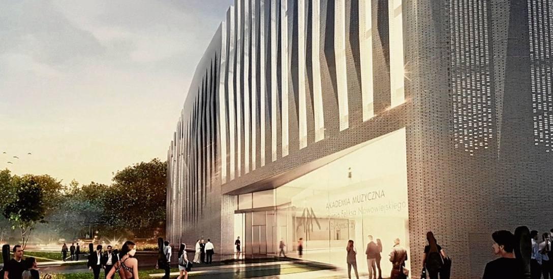 Tak na wizualizacji prezentuje się wejście główne do nowego gmachu Akademii Muzycznej od strony ul. Kamiennej