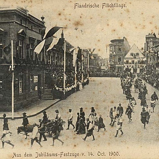 Korowód z 1900 r. Grupa flamandzkich osadników z osiołkiem
