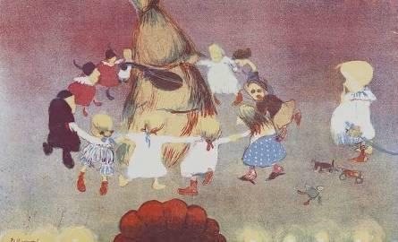 """Stanisław Kuczborski, Taniec wokół chochoła w """"Weselu"""" Stanisława Wyspiańskiego, 1904 plansza z Teki Melpomeny. Autolitografie, Kraków 1904 autolitografia"""