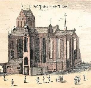 Gdańskim kalwinistom najdłużej służył kościół św. Piotra i Pawła, tu uwidoczniony na rycinie z 1687 roku