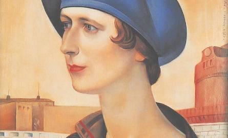 """""""Portret żony z obrączką"""" namalował w Rzymie w 1925 roku Ludomir Sleńdziński. Przedstawia kobietę z łabędzią szyją i w niebieskim berecie na tle zamku"""