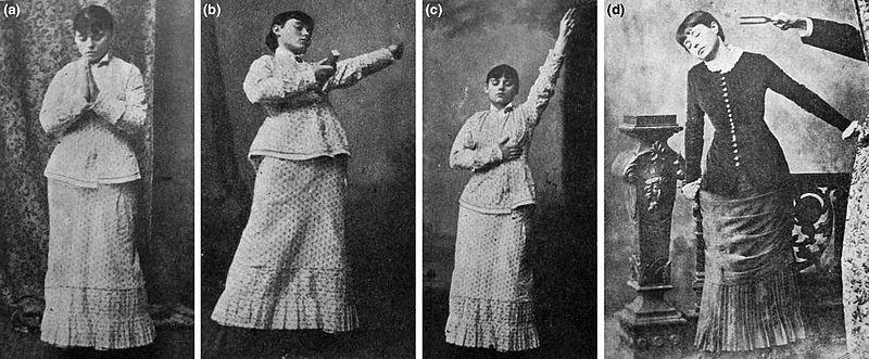 Ilustracje przedstawiające eksperymenty z hipnozą, pochodzące z książki Karoly'a Laufenauera z roku 1899