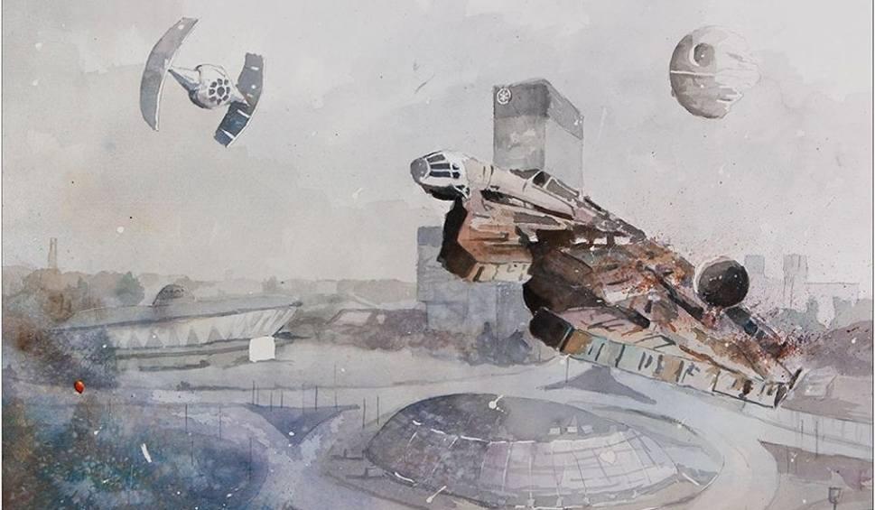 Film do artykułu: Gwiezdne Wojny w Katowicach na akwarelach Grzegorza Chudego ZOBACZ GALERIĘ OBRAZÓW Han Solo, Mistrz Joda na Śląsku