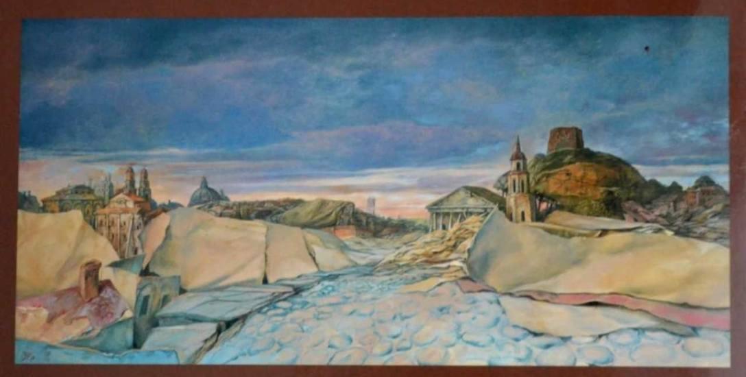 Panorama Wilna - obraz olejny urodzonego w 1930 roku w Wilnie Samuela Baka, wybitnego malarza, uratowanego  z Holokaustu przez siostrę benedyktynkę Marię
