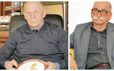 """Kazimierz Duda (z lewej) do dziś przechowuje talerz - pamiątkę od śp. Jana Całki. Jan Blacha: Byłem szeregowym członkiem """"S"""". Nie żałuję, że się ang"""