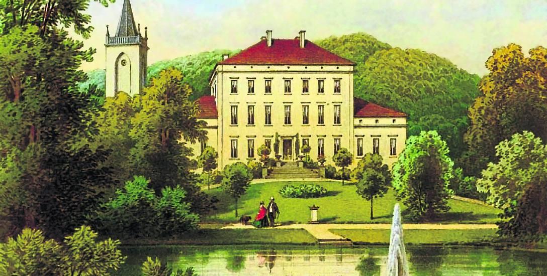 Wygląd pałacu w XIX wieku. Książę Adam Jerzy bywał tu rzadko, w końcu sprzedał rezydencję w 1841 roku