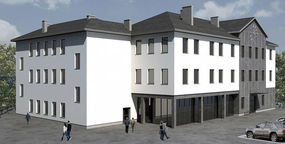 """Tak będzie wyglądał nowy dom kultury w Łapach. Jego budowa ruszy lada dzień. Zaprojektowała go firma """"ATM"""" Krzysztof Miklaszewicz z Białegostoku."""
