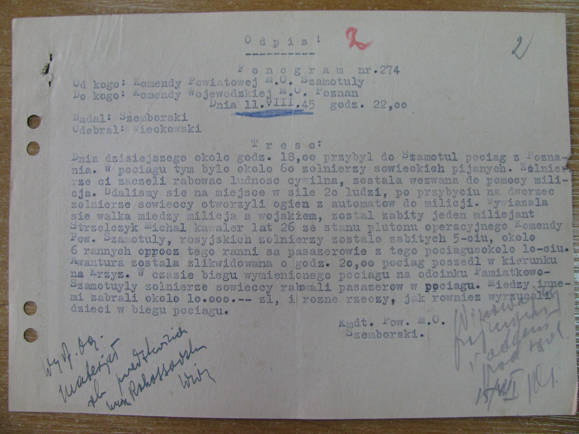Fonogram Komendy Powiatowej MO w Szamotułach