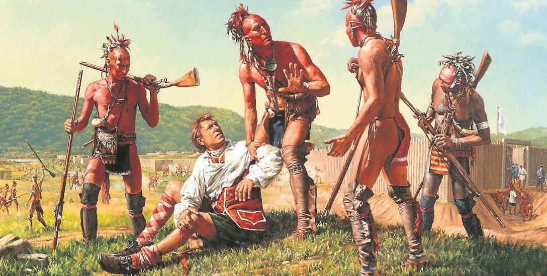 Irokescy wojownicy z brytyjskim jeńcem