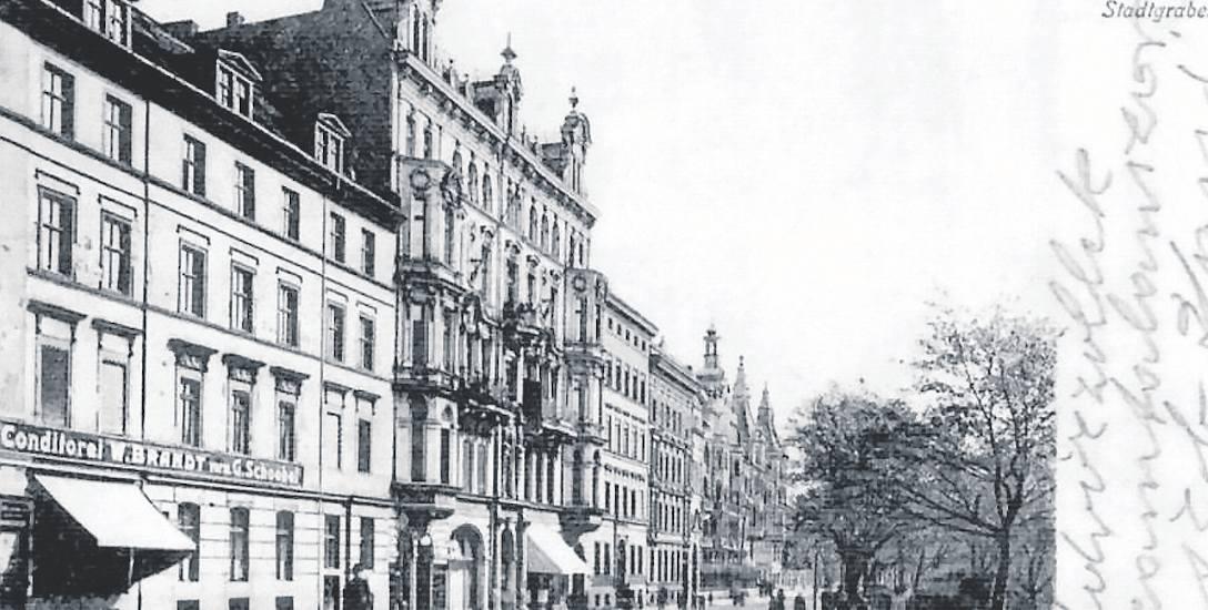 Lata 1900-1920 , Podwale (Ohlauer Stadtgraben), widok z Traugutta w stronę Komuny Paryskiej