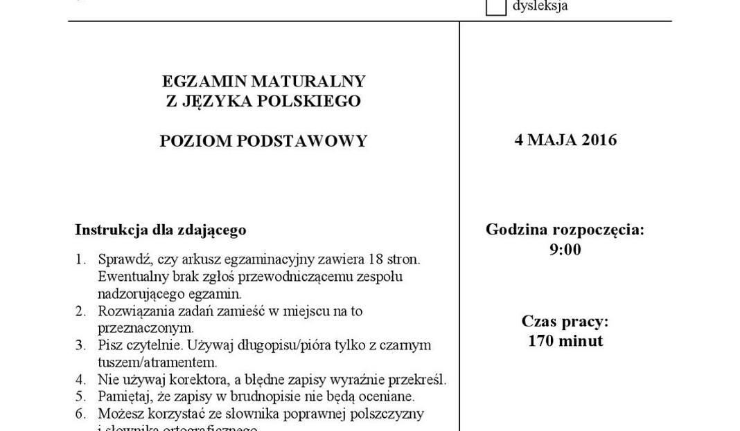 Stara Matura 2016 Język Polski Poziom Podstawowy