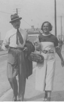 Magdalenia Samozwaniec z ojcem Wojciechem Kossakiem w Jastarni