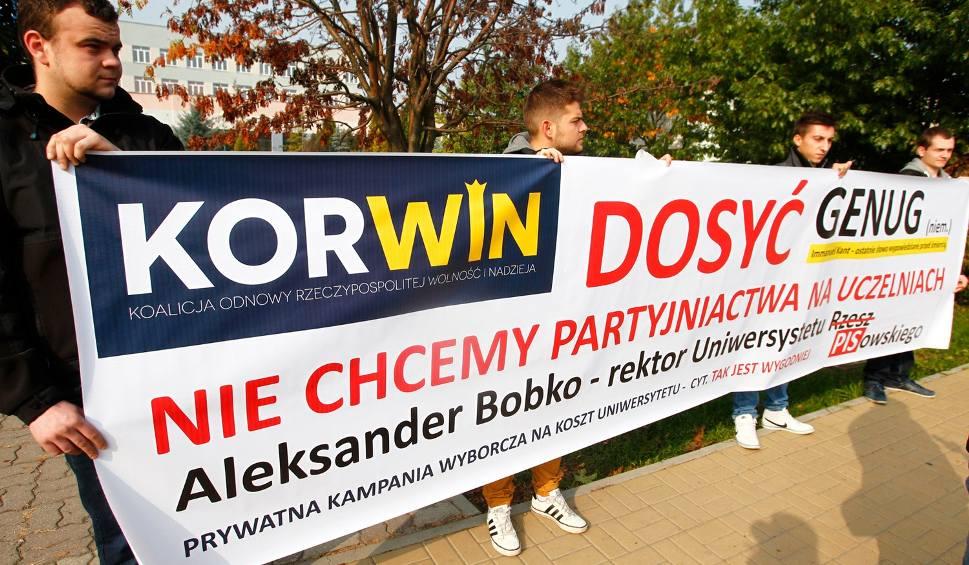 Film do artykułu: Na inaugurację protest partii KORWiN przeciwko kampanii wyborczej rektora UR Aleksandra Bobko