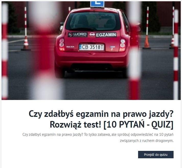Czy zdałbyś egzamin na prawo jazdy? Rozwiąż test!