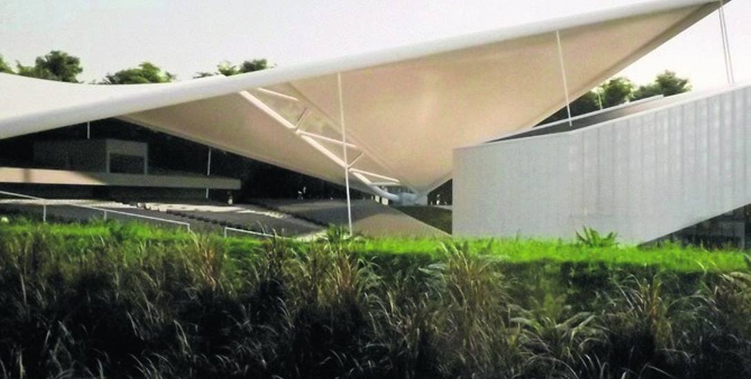Dach nad sceną nowego amfiteatru w Kołobrzegu obejmie także całą widownię. Tak wygląda na wstępnym projekcie