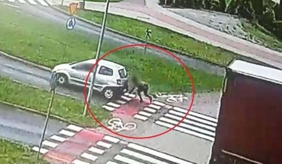 Film do artykułu: Potrącenie rowerzystki w Zielonej Górze. Wszystko uchwycił miejski monitoring. To już druga taka sytuacja w czasie wakacji