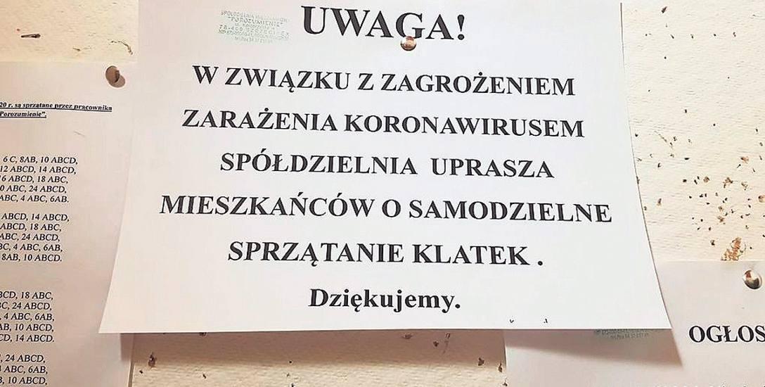 Taka kartka pojawiła się na klatkach schodowych bloków osiedla przy ulicy Kołobrzeskiej w Szczecinku, którym administruje SM Porozumienie
