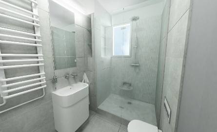 Łazienka zaprojektowana przez Urszulę Gacek.