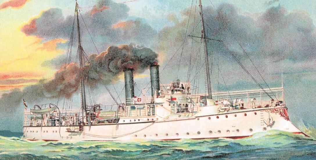 """S.M. S. Kanonenboot """"Jaguar"""", czyli siostrzana jednostka """"Ebera"""". Kartki z okrętami były na przełomie XIX i XX wieku popularne w wielu krajach Europ"""