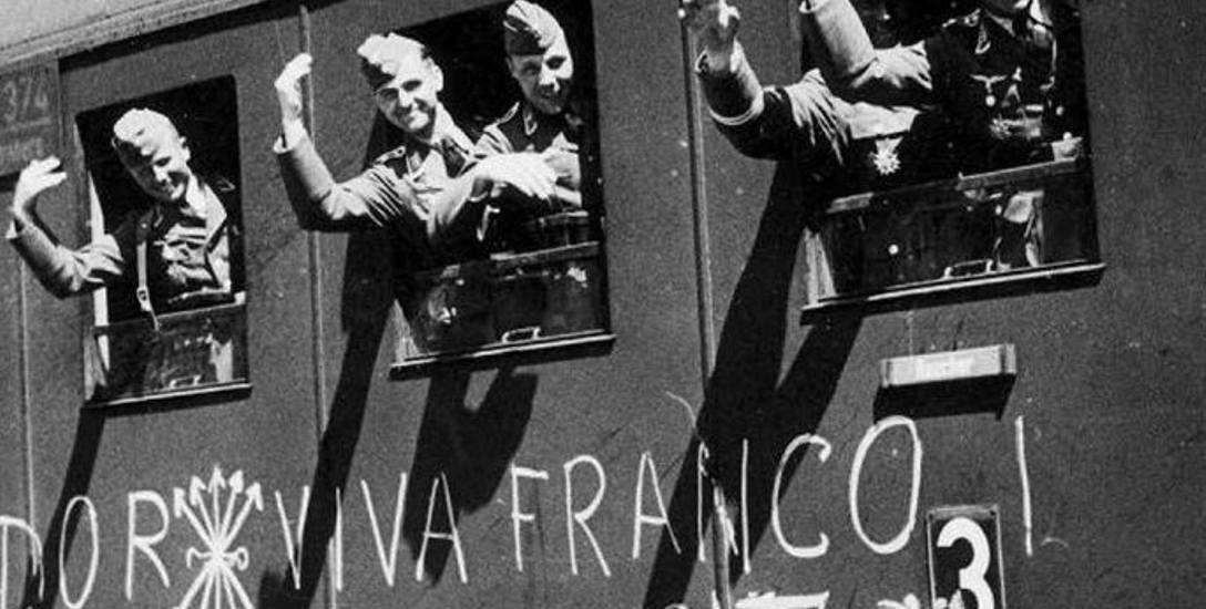 Żołnierze Legionu Condor w wagonie kolejowym na terenie zajętym przez wojska Franco