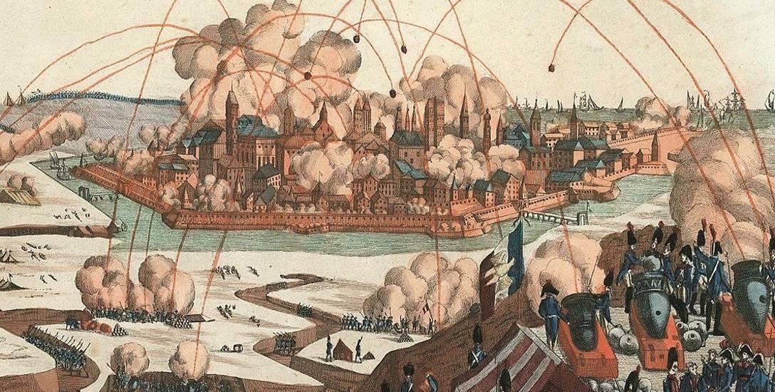 Artystyczna wizja opisywanego przez Karla Raimunda Behrenda oblężenia Gdańska w roku 1807