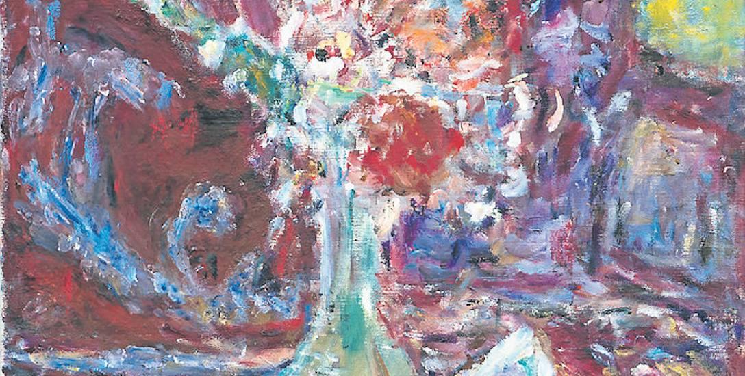 """Hanna Rudzka-Cybisowa, """"Kwiaty w szklanym wazonie"""". Obraz został namalowany w 1987 roku"""