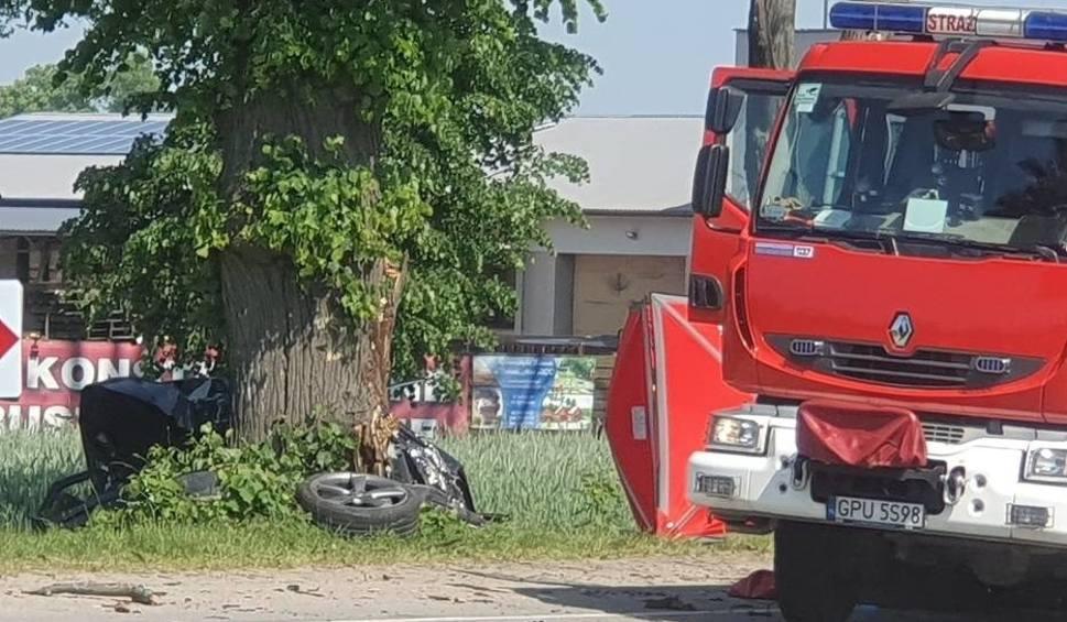 Film do artykułu: Śmiertelny wypadek w Rekowie na DW216 na trasie Reda-Puck 5.06. Czarne audi rozbiło się na drzewie, nie żyje mężczyzna