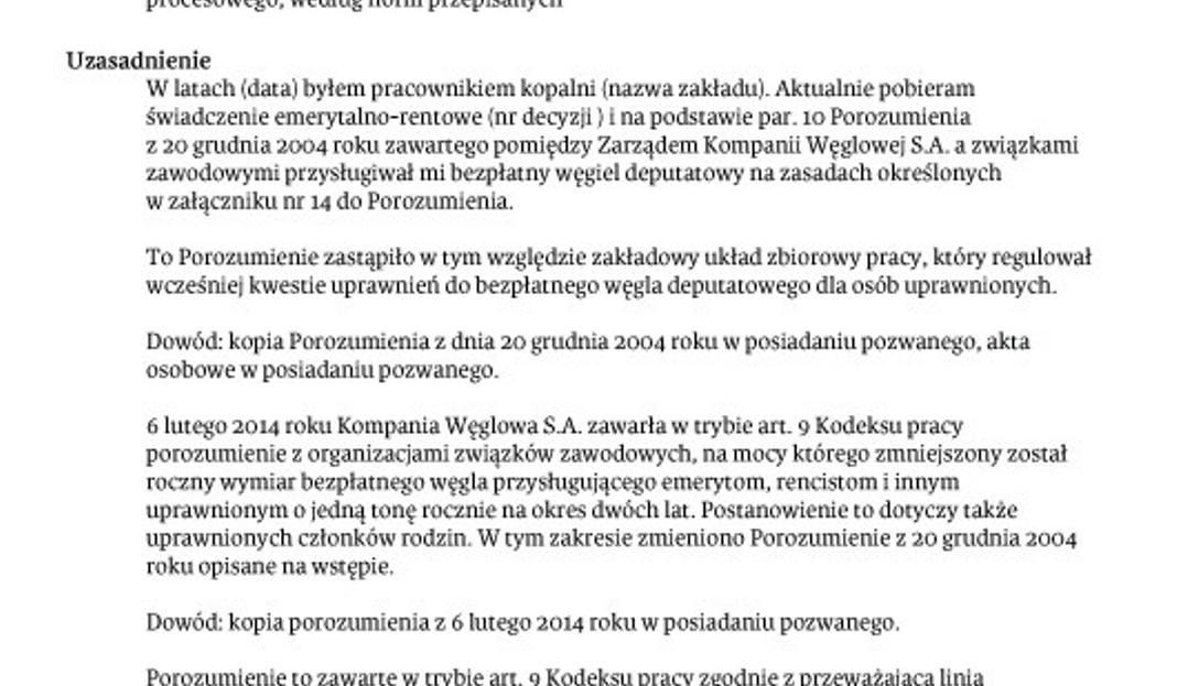 Pozew O Deputat Węglowy Dziennikzachodnipl