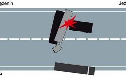 W wyniku wypadku w doszczętnie rozbitym samochodzie osobowym zginął kierowca i dwóch jego pasażerów.