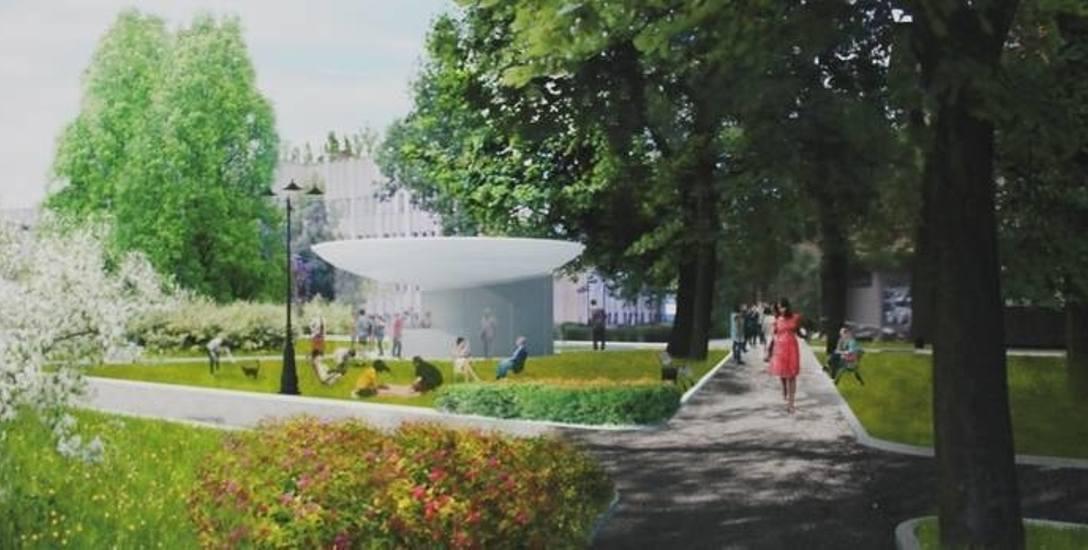 Tak miałby wyglądać punkt obsługi pasażera, czyli pawilon z betonu i szkła zbudowany przed gmachem Harmonijki