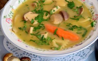 Klasyczna zupa grzybowa ze świeżych prawdziwków z makaronem.