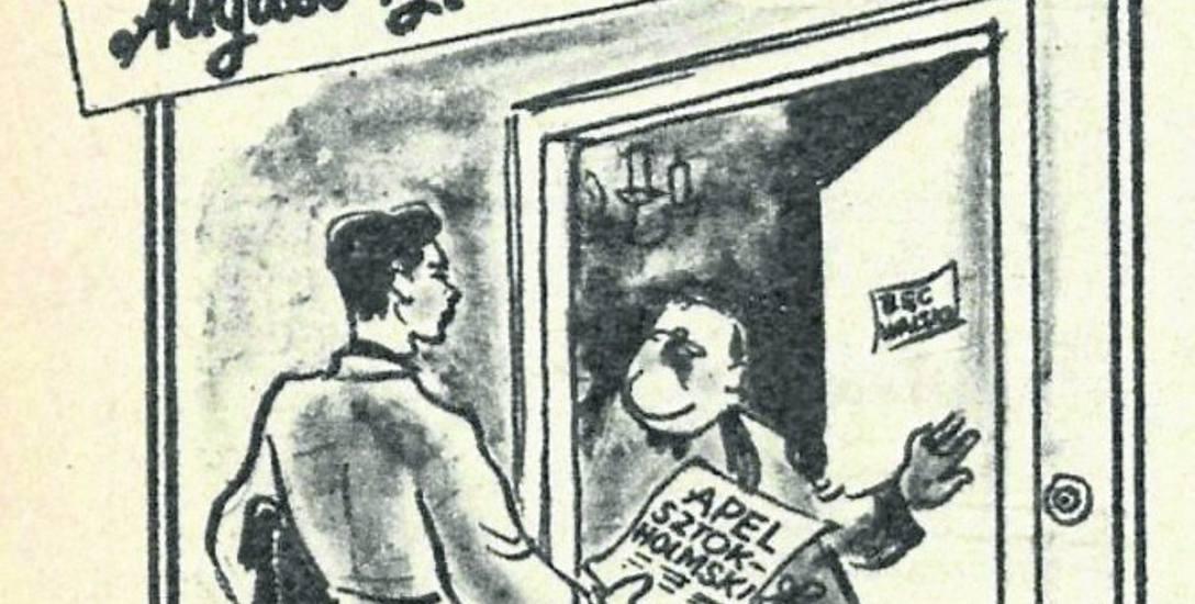 """- Ja nie podpisuję - karykatura z """"Przekroju"""" z 1950 roku"""
