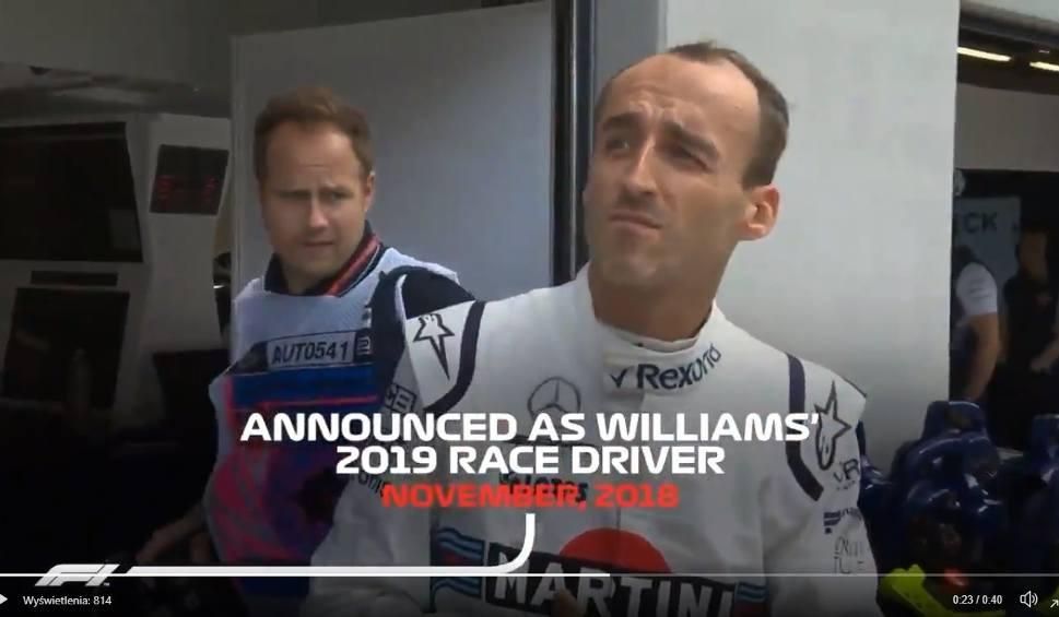 Film do artykułu: Wpadka oficjalnej strony Formuły 1. Robert Kubica kierowcą wyścigowym Williamsa! [WIDEO]