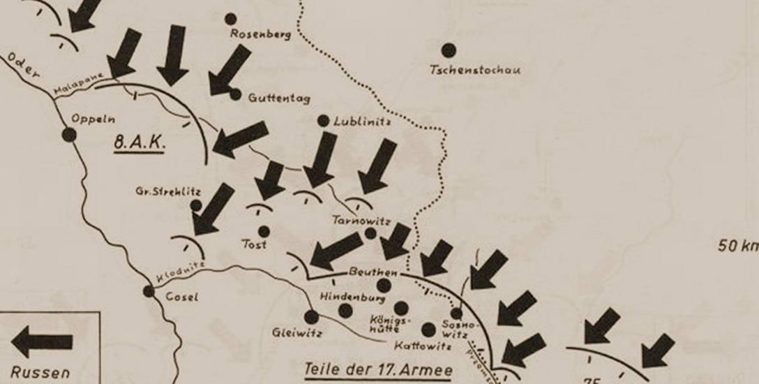 Armia Czerwona (na zdj. kierunki natarcia Rosjan w styczniu 1945 roku) przejęła sporą część śmiercionośnego arsenału.
