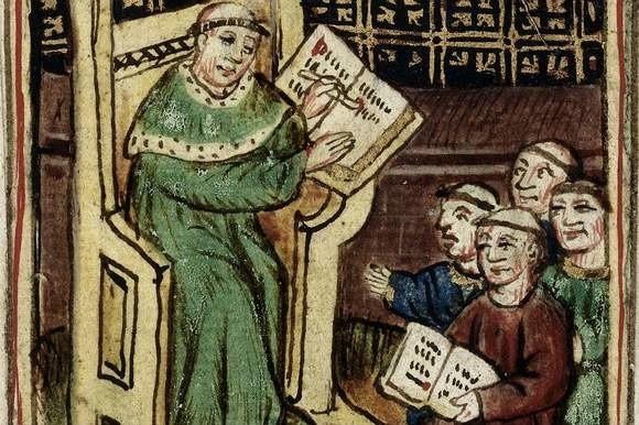 """""""Mistrz i uczniowie"""". Ilustracja z XV wieku"""