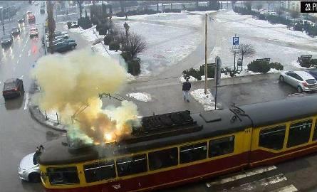 Pożar tramwaju linii 46 w Zgierzu [ZDJĘCIA]