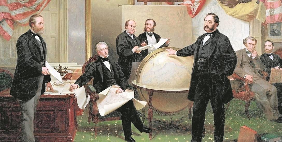 Podpisanie porozumienia o sprzedaży Alaski 30 marca 1867 r. W środku siedzi sekretarz stanu William Seward, przed globusem stoi Edward Stoeckl