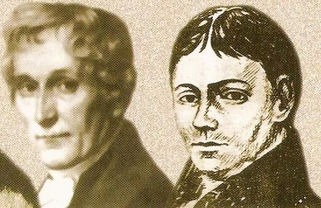 """Fragment okładki książki """"Pestalozzi i jego olescy uczniowie"""". Felix Rendschmidt (na zdjęciu z lewej) był nauczycielem Józefa Lomp"""