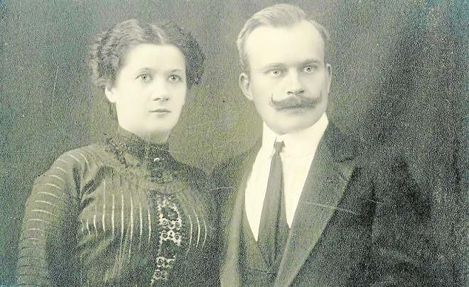 Ślubne zdjęcie Felicji Zielińskiej i Teofila Witolda Wierzbowskiego, wykonane w Brazylii, dokąd Felicja przypłynęła ze swoją matką w 1911 roku