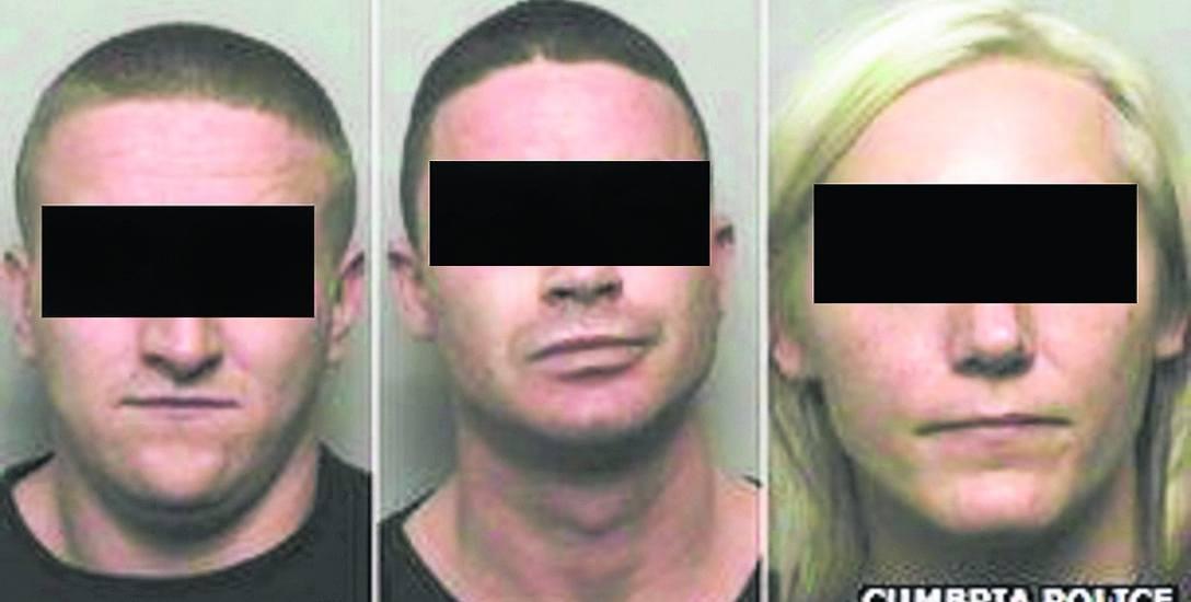 Główni oskarżeni o zabójstwo Piotra K. Od lewej: Sylwester K., Piotr Z. i Paulina M. Sąd Koronny w Carlise obu mężczyzn skazał na dożywocie, kobietę