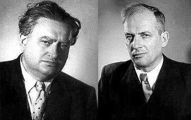 Stanisław Cat Mackiewicz (z lewej) i Jerzy Putrament