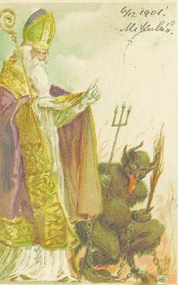 Krampus nie zawsze - jak na tej pocztówce - pokazywany jest jako diabeł, ale zawsze wygląda strasznie na tle dobrego św. Mikołaja.